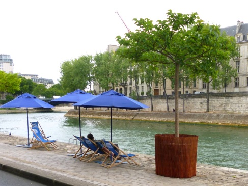 Hoping for sunshine on Paris Plage - July 2015
