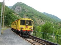 Le Train Jaune leaves Thuès Carança - July 2015