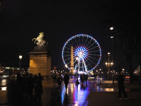Reflections in the colours of the French tricolour, Place de la Concorde, November 2015