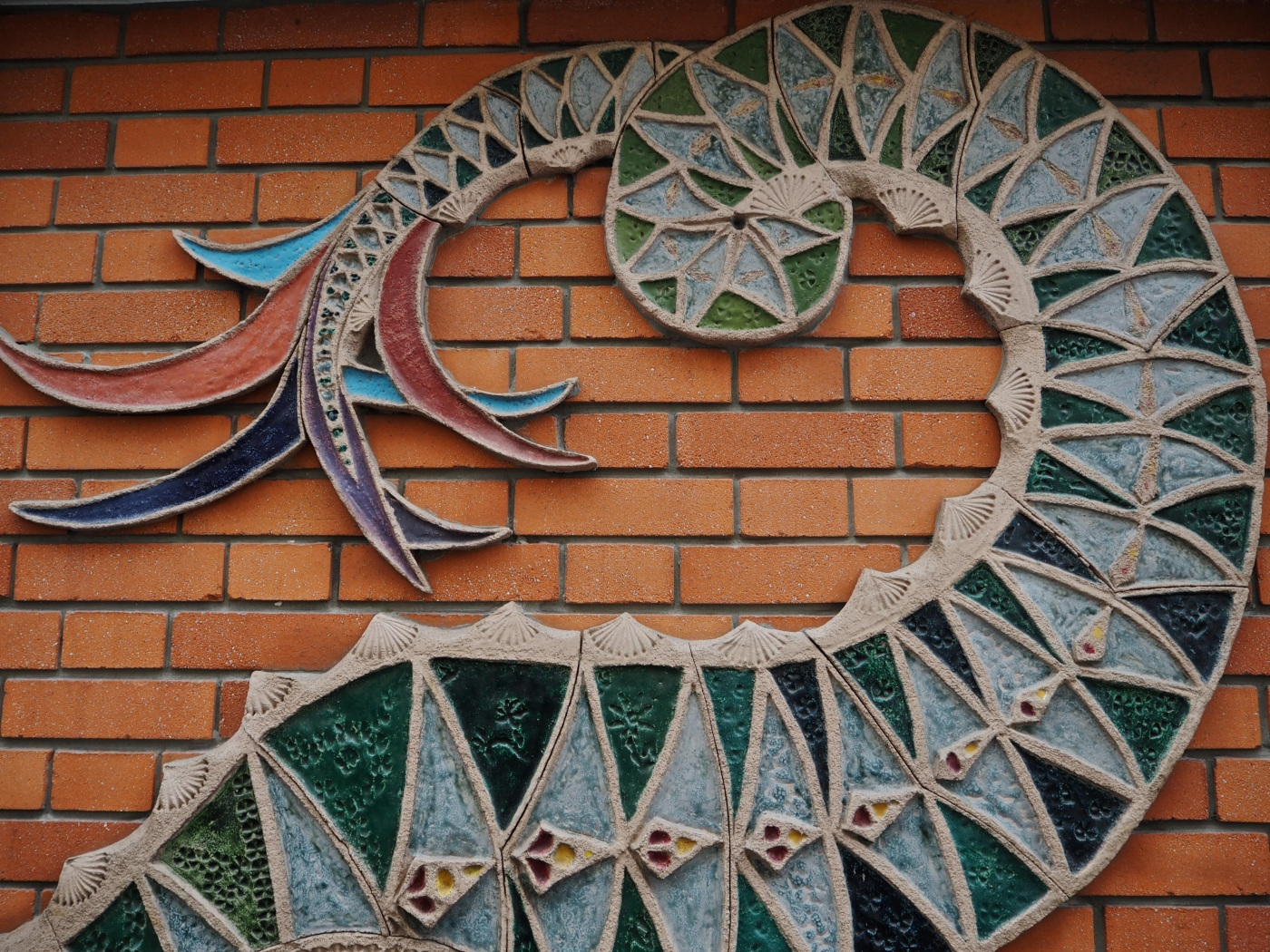 Paris street art ceramic dragon