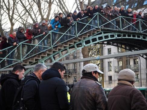 Fish watching on Canal St Martin, Paris - January 2016