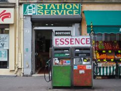 E is for Essence - a choice of sans plombe (unleaded petrol) and gazole (for mopeds)