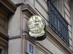 N is for Notaire - all notaries or solicitors display this polished brass sign.