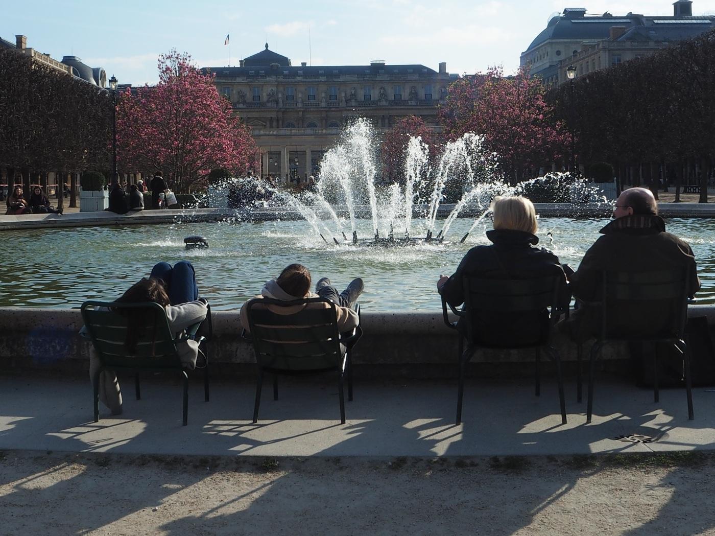 fountain & magnolia blossom Palais Royal garden
