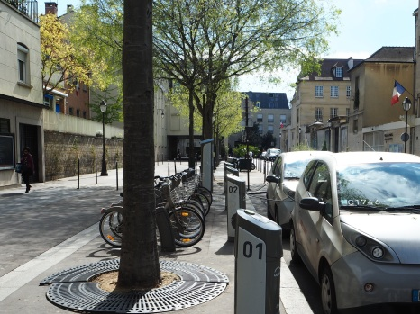 A combined 'station' for Velib bikes and Autolib city cars. In this wide street there's still plenty of room for pedestrians.