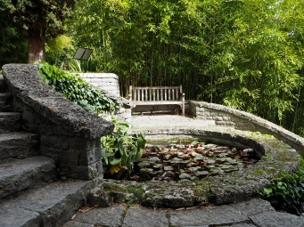 Hanbury garden la Mortola lily pond bench