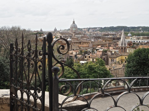 Rome view from Villa Borghese gardens