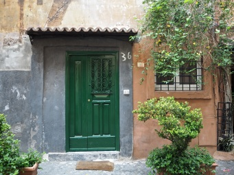 green door Trastevere Rome