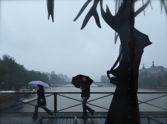 Rainy day sculpture on Pont des Arts - May 2016