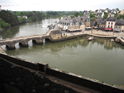 The bridge and quay at St Goustan, seen from the ramparts of Auray castle.