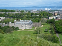 Holyrood Palace and the Firth of Forth.