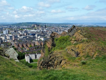 Edinburgh Castle seen from Salisbury Crags.