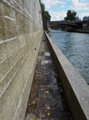 This path alongside the Seine below Notre Dame feels all the more narrow when the river is lapping at the top of the parapet.