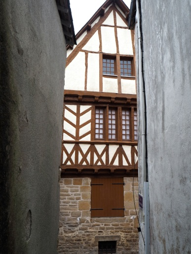 View from a narrow alley in the Breton village of St Goustan.