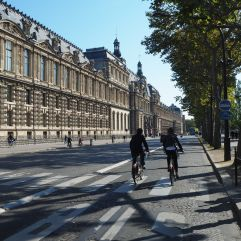 Cycling past the Louvre on the Journée sans Voitures - car free day