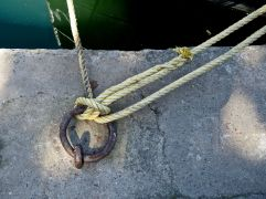 Mooring by the lock between river and canal