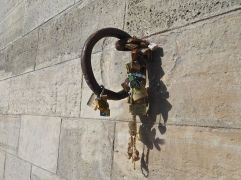 Below Pont des Arts the love locks are finding new attachments