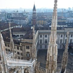 A misty view of Milan over the cathedral roofs...