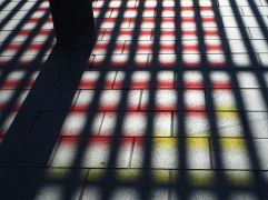 Coloured shadows at Tours station.