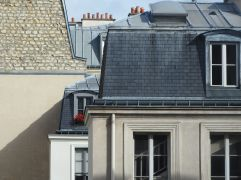 Layered rooftops in the Marais