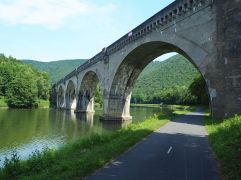 A 19th century railway bridge over the River Meuse and the Ardennes green way - Voie Verte Trans Ardennes - June 2017