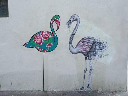 flamingos street art Butte aux Cailles