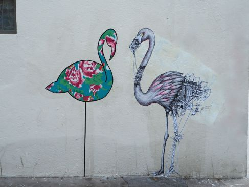 flamingos street art Butte aux Cailles