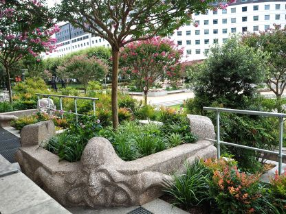 The granite sculptures - La Danse by Selinger - were added in 1983, enclosing a series of small square beds planted with Indian lilac - Lagastroemia indica.