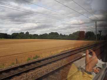 Landscape with reflections - heading north from York - August 2017