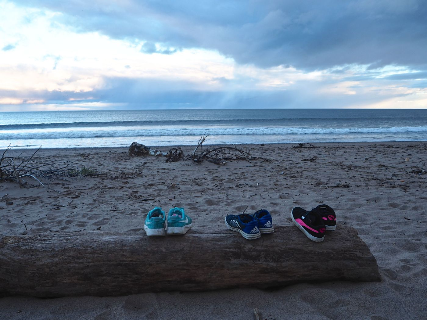 shoes on a log spittal beach