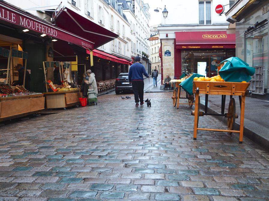 rainy day paris wet stone paving