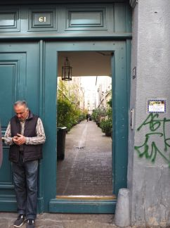 A hidden street lined with potted plants, behind a green door - Paris 10