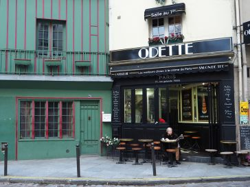 Odette's tea room on rue Gallande has the air of a long established business but three years ago this building was a red painted chip shop!