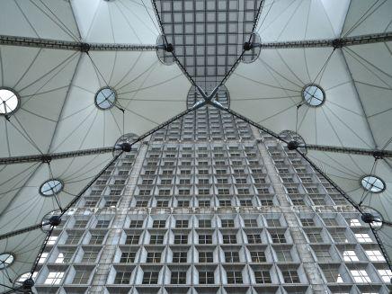 Under the Grande Arche of La Défense