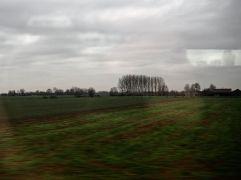 Normandy farmland seen from Eurostar - December 2017