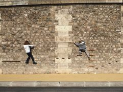 Climbing wall on the Berges de la Seine - March 2017