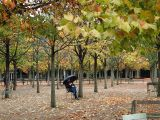 October - sheltering from the rain in the Jardin du Luxembourg