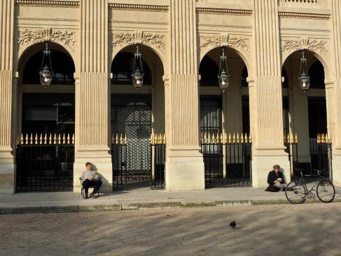 Soaking up the sun at the Palais Royal.