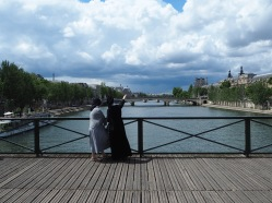 Sightseeing sisters on Pont des Arts.