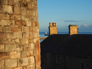 and the lighthouse seen from the town walls