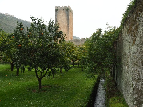 The old, walled orange orchard is a survival of earlier Italian style gardening in contrast to the 'English style' romantic garden