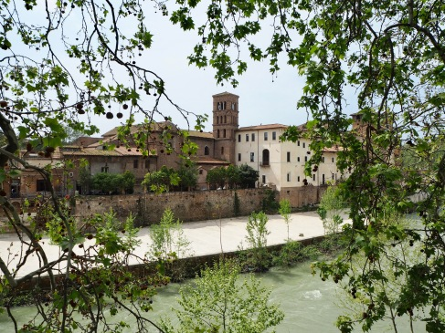 Looking across the river Tiber to Isola Tiberina, Rome - April 2018