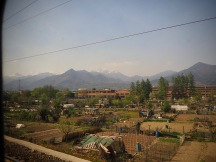 Allotment gardens in the outskirts of Turin with mountains not far beyond