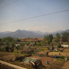Allotment gardens in the outskirts of Turin with mountains not far beyond - April 2018