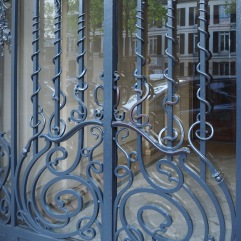 Iron tendrils explore the straight lines of a door grille - Paris 13