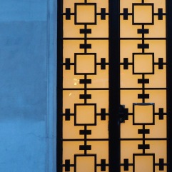 Geometric patterns on an iron door grille - Paris 13