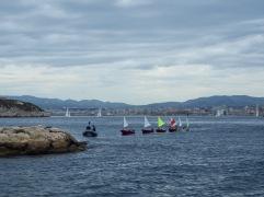 A sailing class heading back to port on Ratonneau