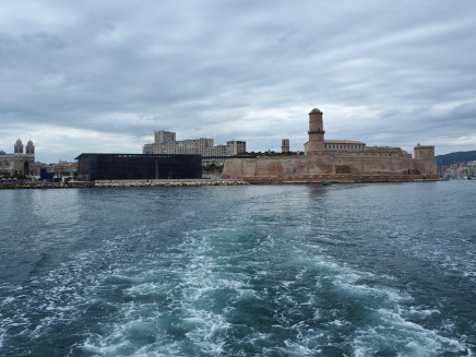 Fort St Jean and Mucem Marseille seen from the water