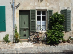 A touch of green and a bike by the door