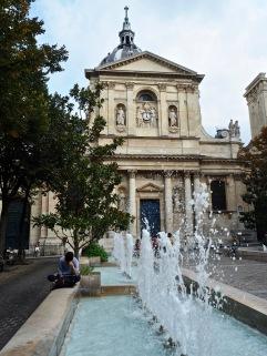Fountains in Place de la Sorbonne